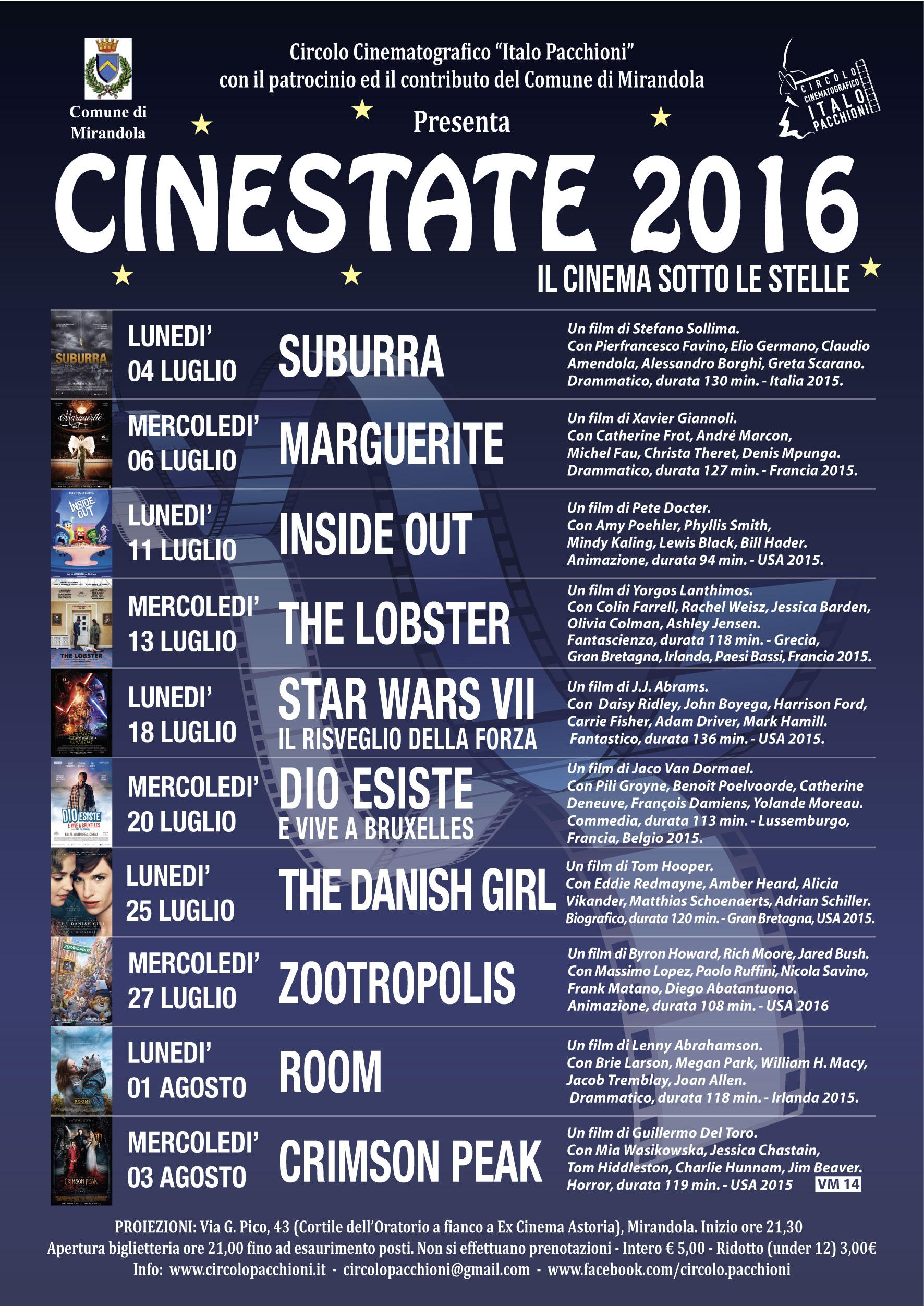 Locandina A5 Cinestate 2016 Mirandola